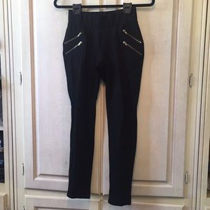 Zara Basic High Waisted Leggings with Gold Zippers